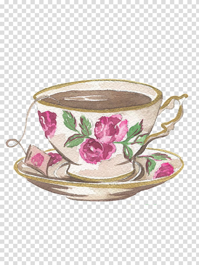 S, flower graphic teacup with saucer transparent background.