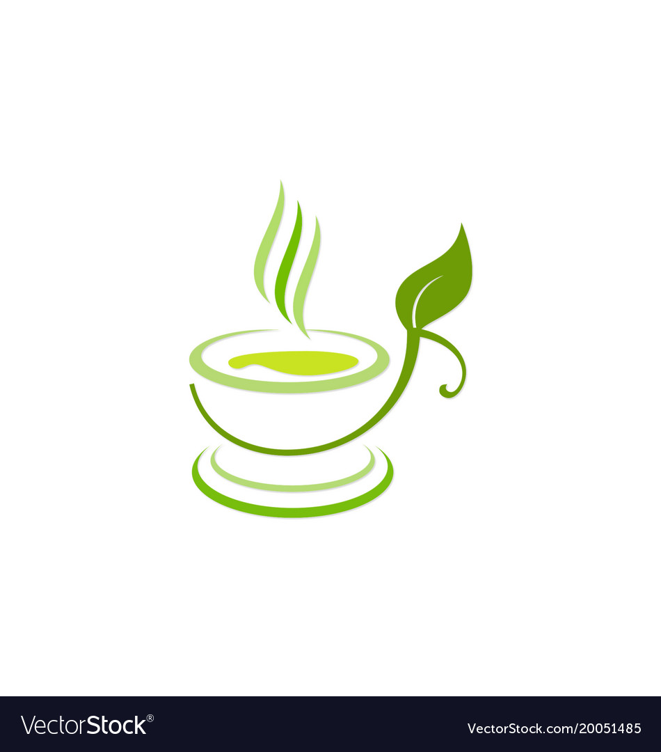Green tea cup organic diet logo.