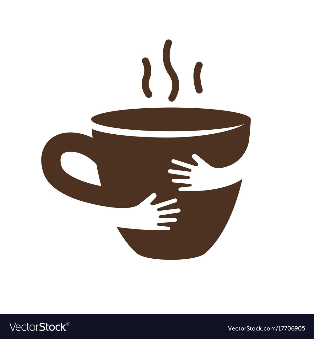 Creative coffee or tea cup and hands logo design.