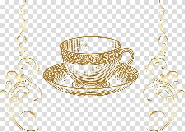 Brown tea cup and saucer, Tea , golden cup transparent.