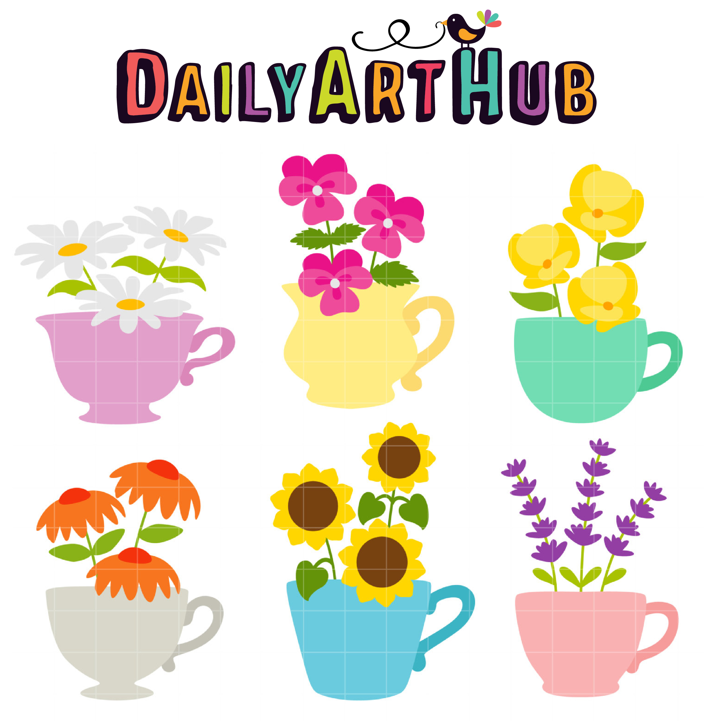 Flower Teacup Clip Art Set.