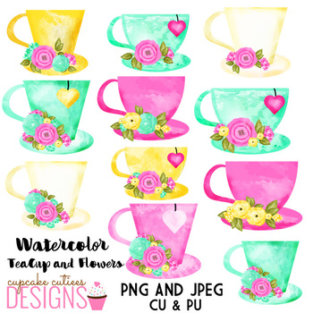 Watercolor tea cup with flowers.