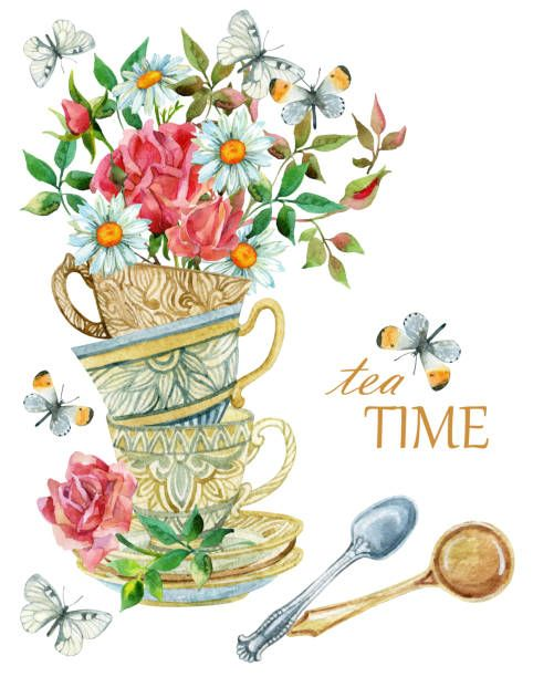 Watercolor Tea Cups Background With Spoon Flowers And.