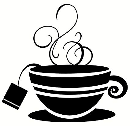 Wall Décor Plus More WDPM2109 Striped Teacup with Steam Kitchen Wall Art  Vinyl Sticker Decal, 12x11.5.