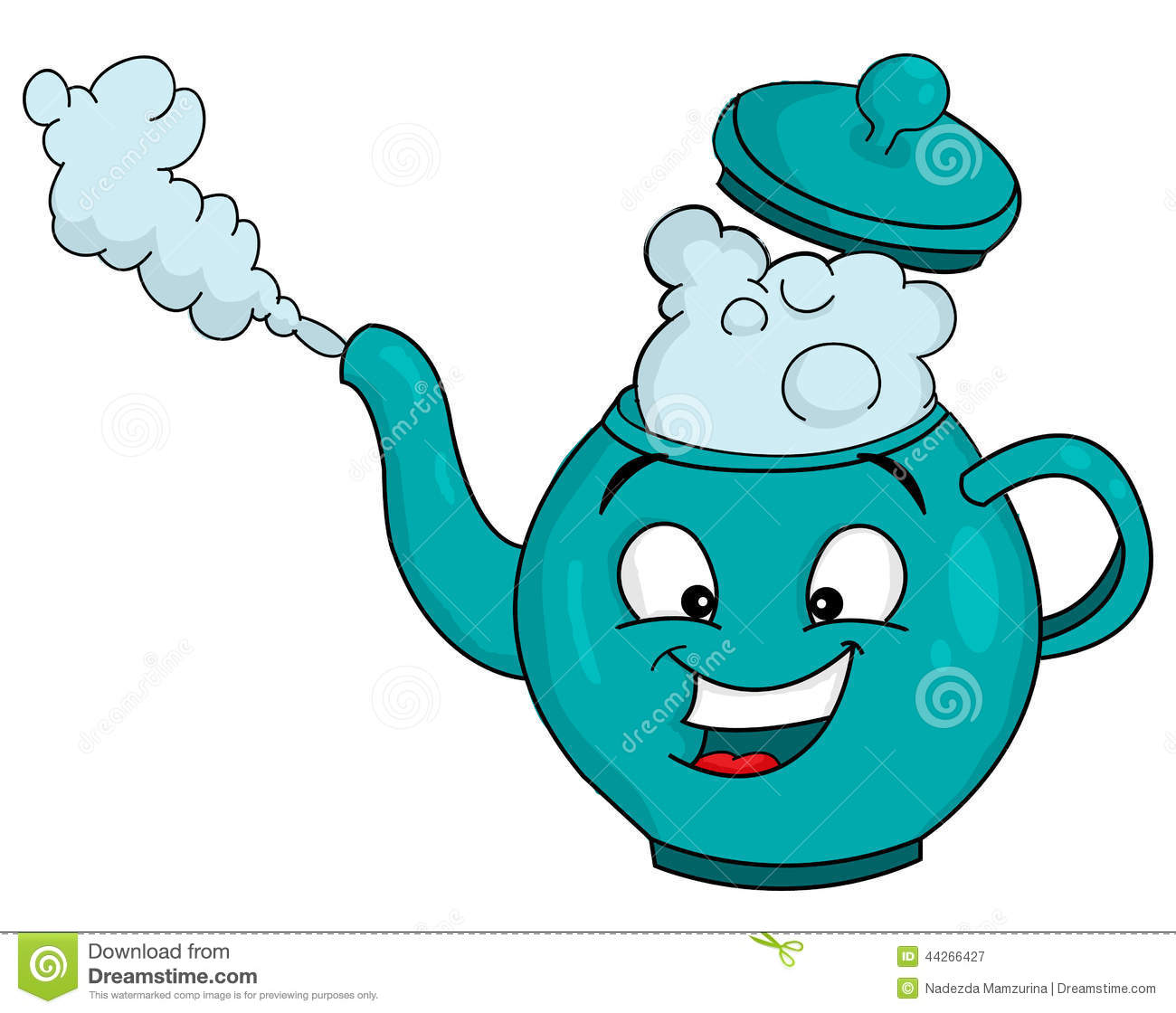 Steaming Teapot Clipart.
