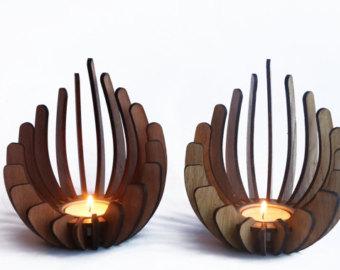 Wood tealight holder.