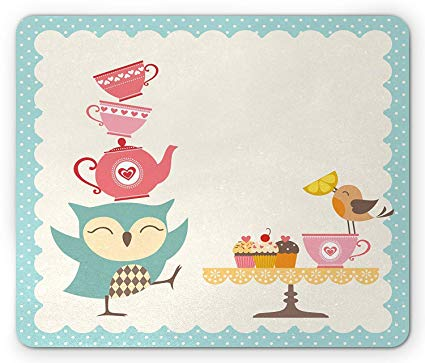 Amazon.com : Owl Mouse Pad, Owl at a Tea Party Bird Lemon.