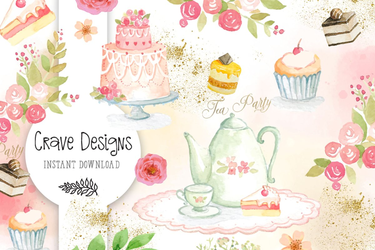 Tea Party Watercolor Set.