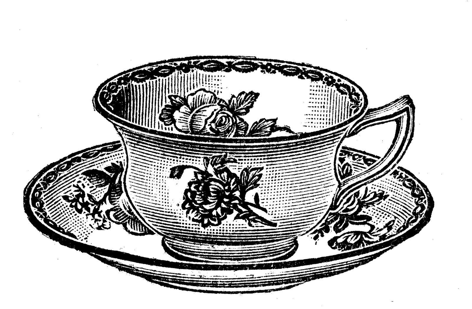 Free vintage clip art images: Vintage tea party crockery.