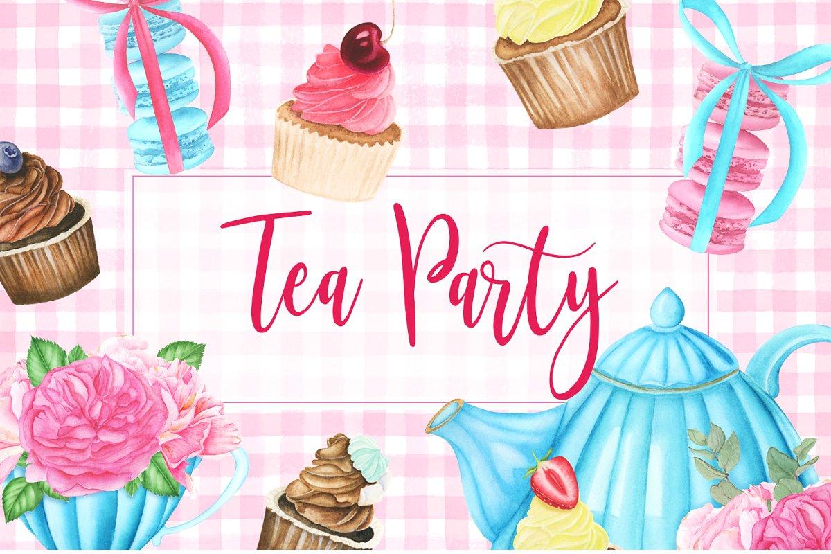 Watercolor Tea Party Clipart.