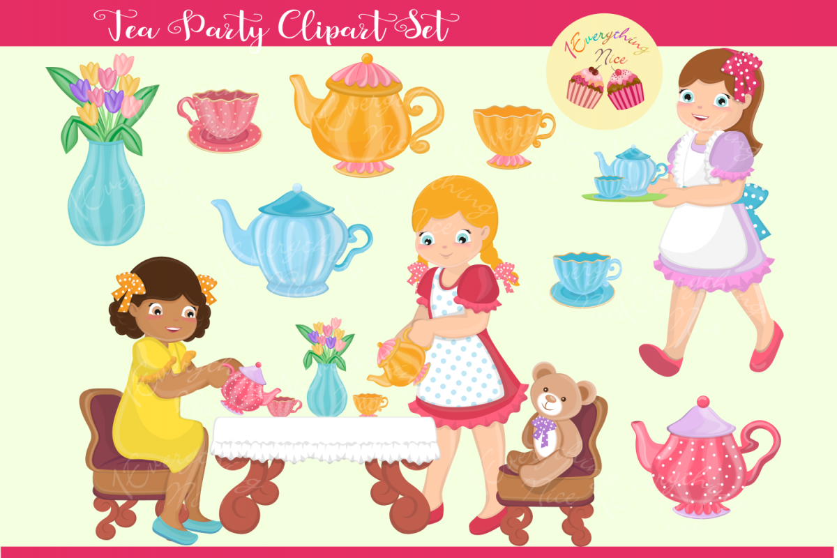 Tea Party Clipart Set.