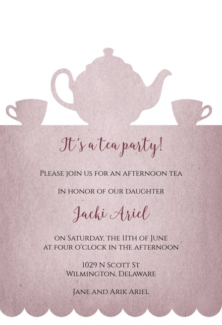 Tea Party Invitation Template (Free).