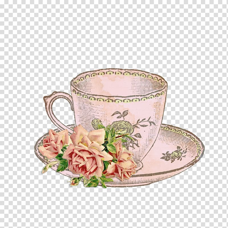 Clear glass mug on saucer illustration, Tea party Teacup.