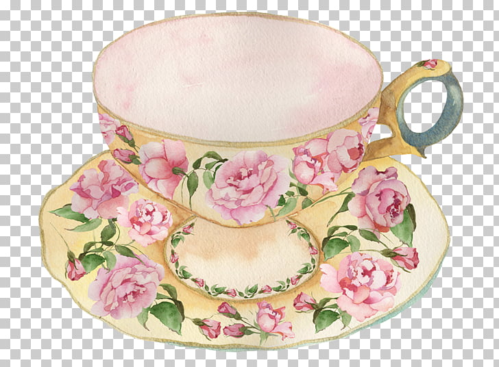 Teacup Tableware Tea party Teapot, watercolor cake, beige.