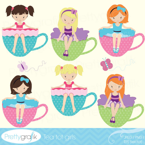 Tea party girl clipart Tea party girl clipart [CL515].