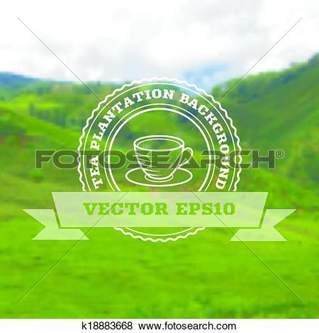 Clip Art of Tea plantation vector background k18883668.