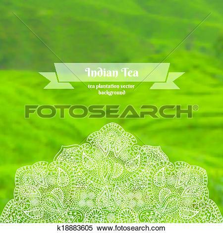 Clipart of Vector ornate background of tea plantation k18883605.