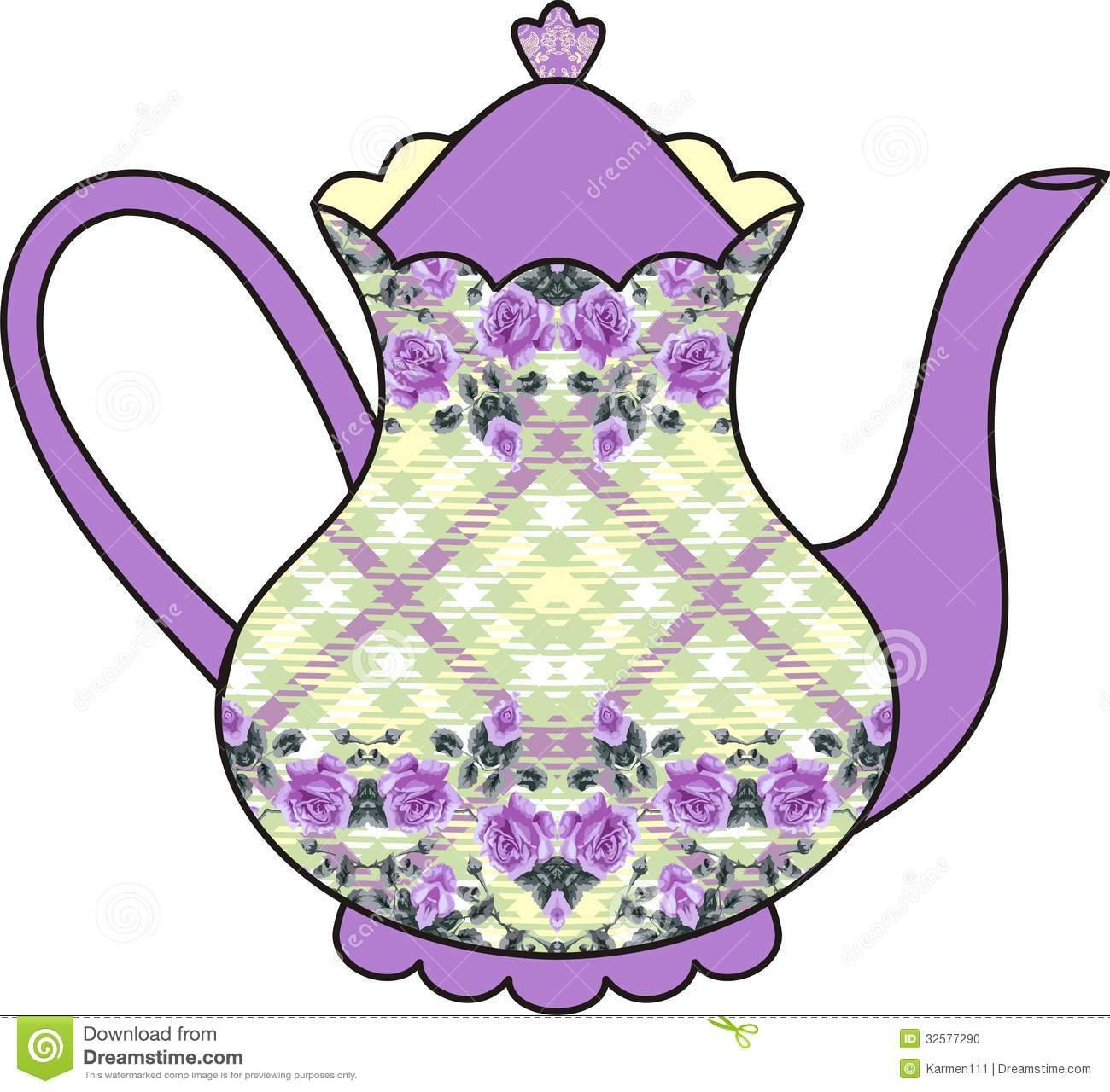 Victorian Teapot Clipart.
