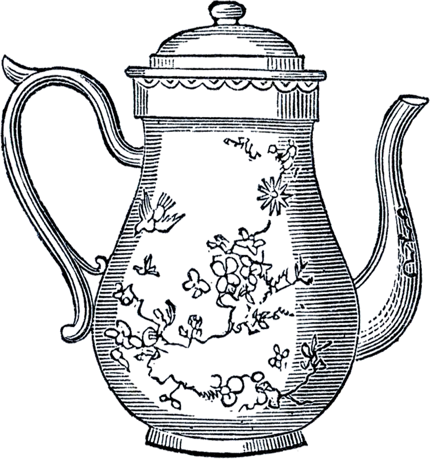 Free Vintage Teapot Clip Art.