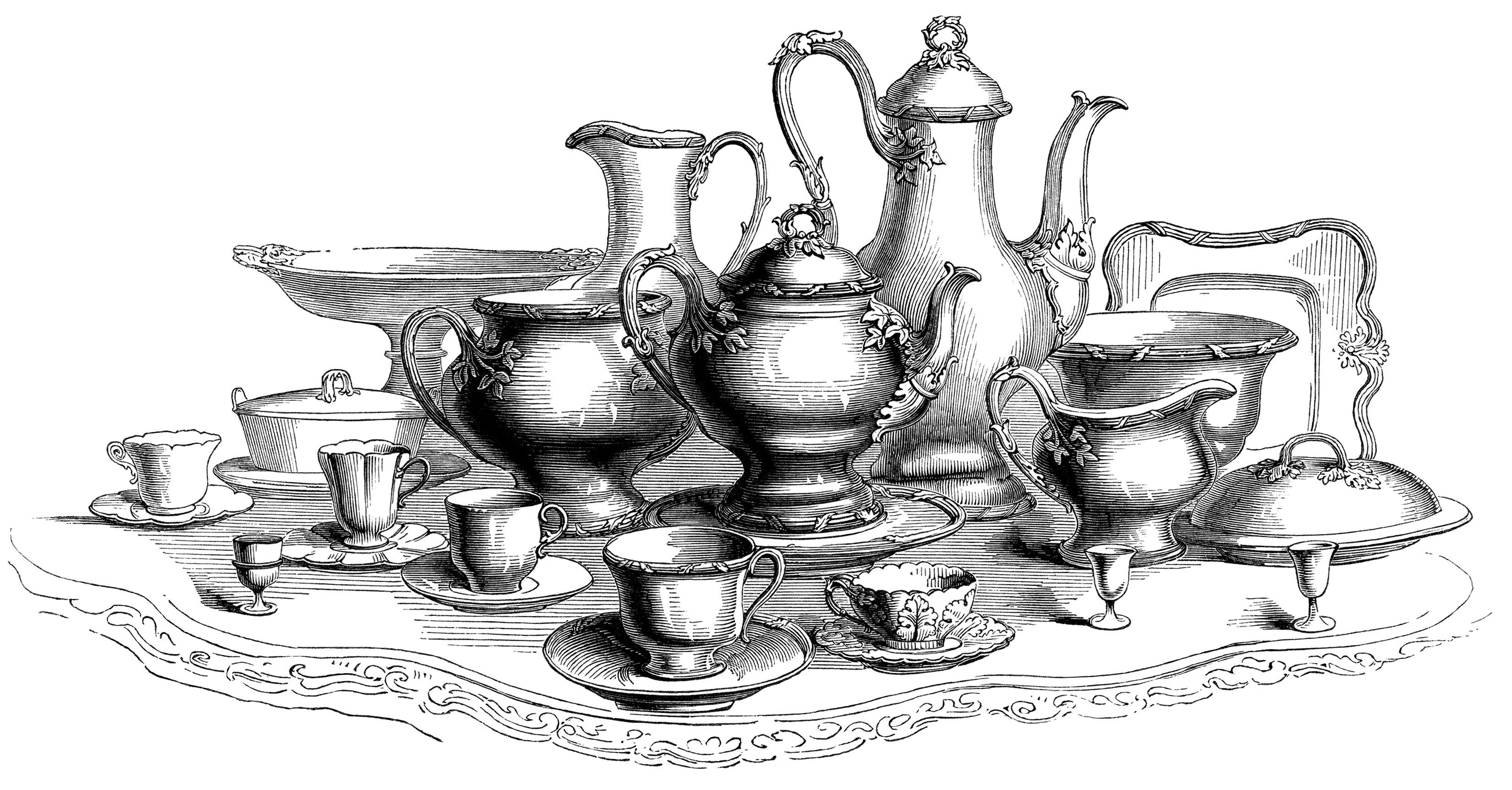 Large Coffee and Tea Set ~ Free Vintage Clip Art.
