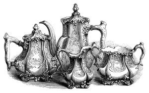 vintage tea set clipart, coffee tea engraving, free black.