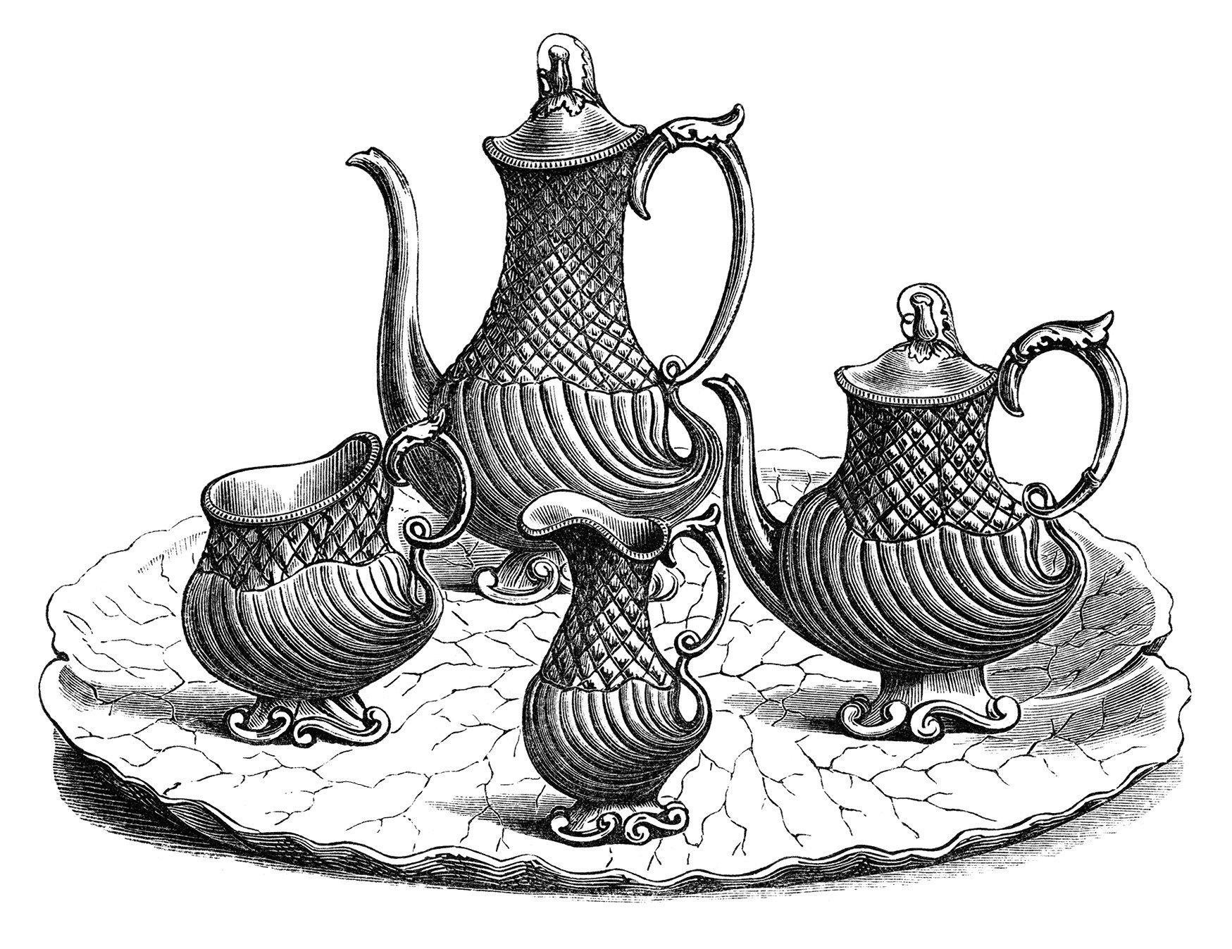 victorian tea set, vintage kitchen clip art, black and white.
