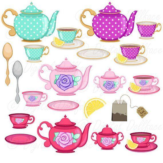 Tea Cup Clip Art, Tea Party Bridal Shower Clipart, High Tea.