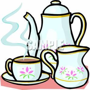 Cup of Tea With Porcelain Tea Set.