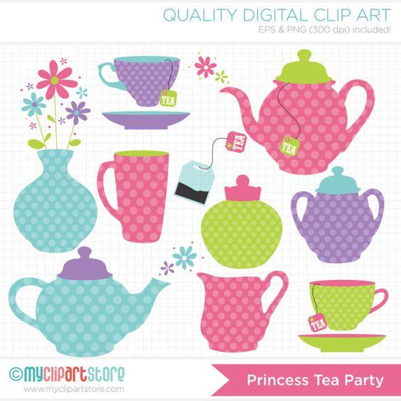 Princess Tea Party / Tea Set Clip Art / Digital Clipart.