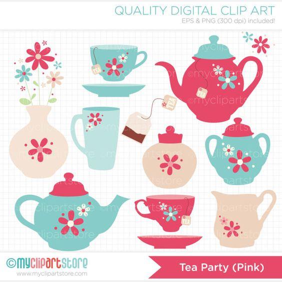 Tea Party / Tea Set Clip Art / Digital Clipart.