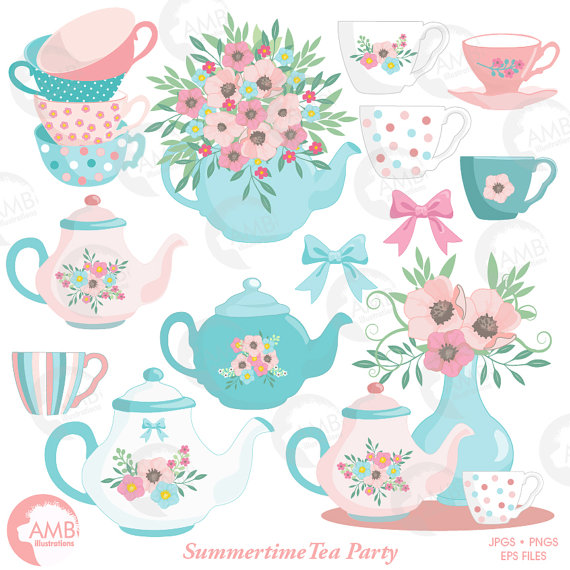 Tea Time Clipart, Teapot, Summer Time Tea Party Clipart.