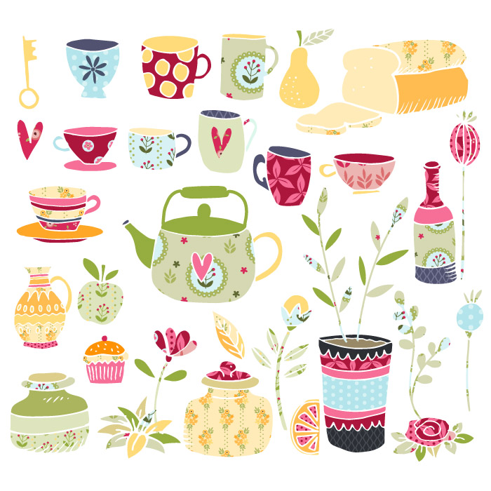 Tea Time Vector Clipart Illustrations.