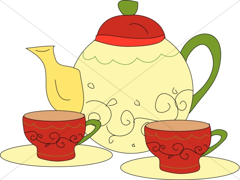 Tea Time with Pot and Cups.