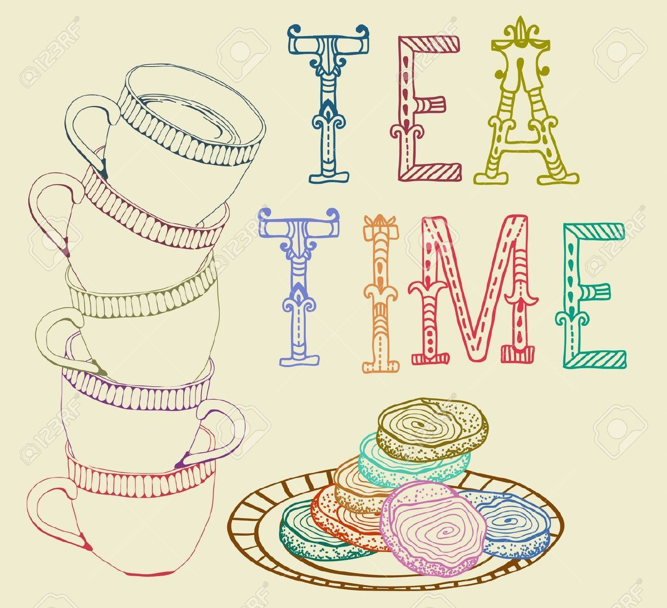 Vintage tea time clipart.