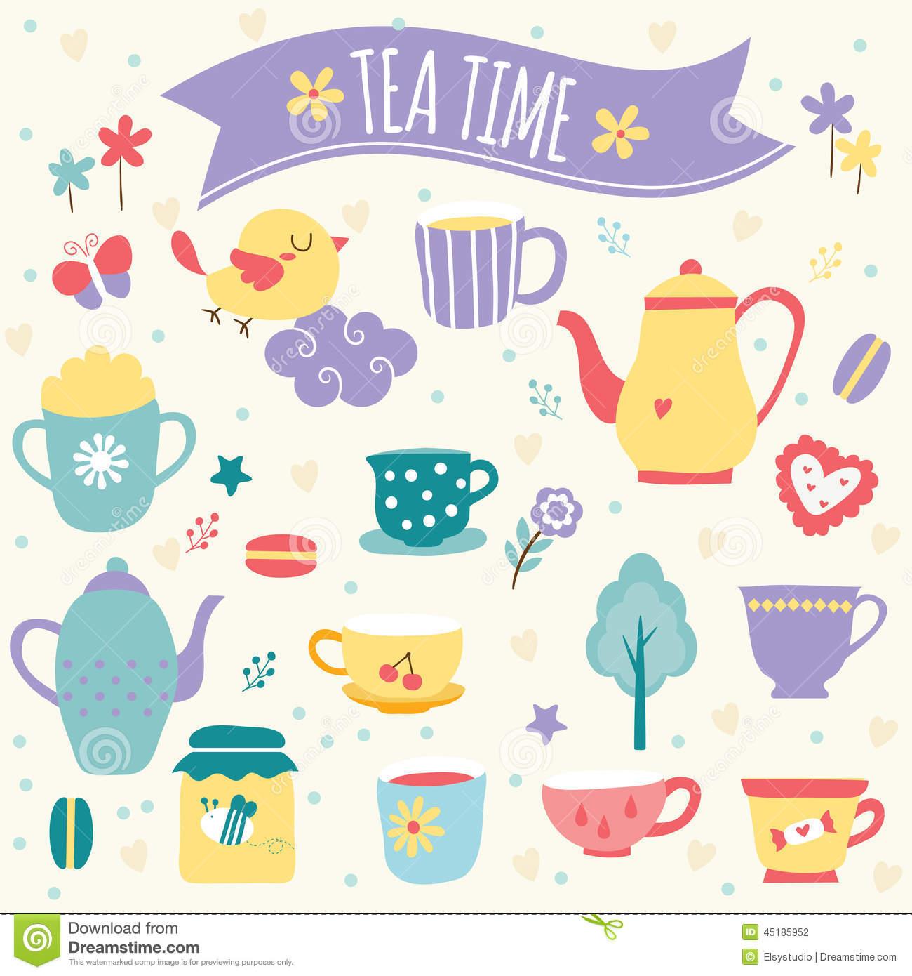 Tea Time Clip Art Set Stock Vector.