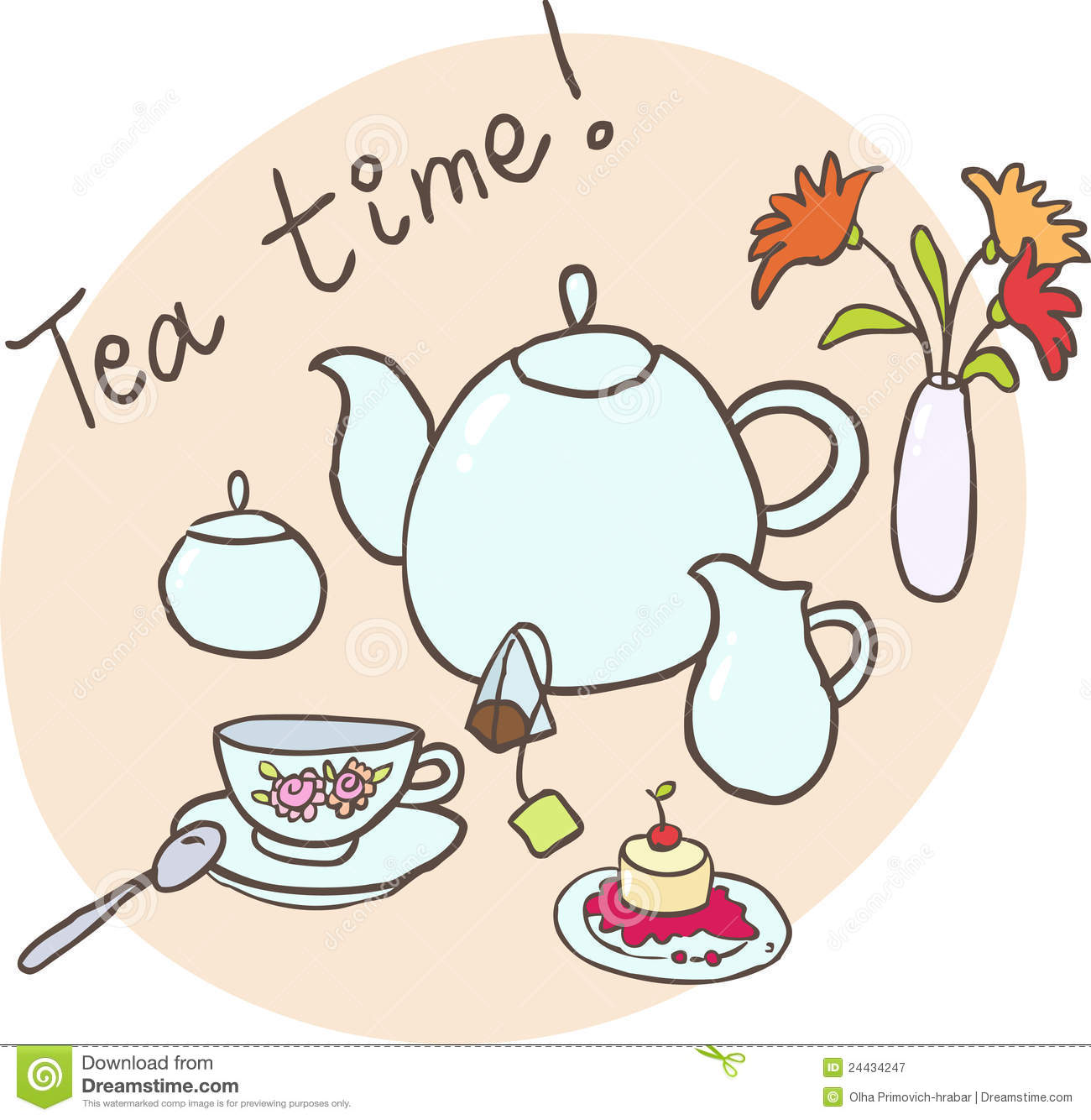 Tea time clip art.