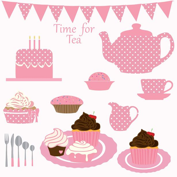 Cupcake Tea Party Clipart Free Stock Photo.