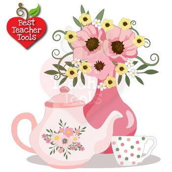 Tea Time Clipart, Valentine Days Clipart, Tea Party, Tea Pot Art, AMB.