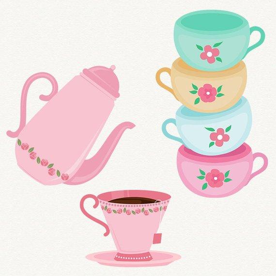 Tea Time Clipart Tea Party Clip art Cake graphic Cupcake.