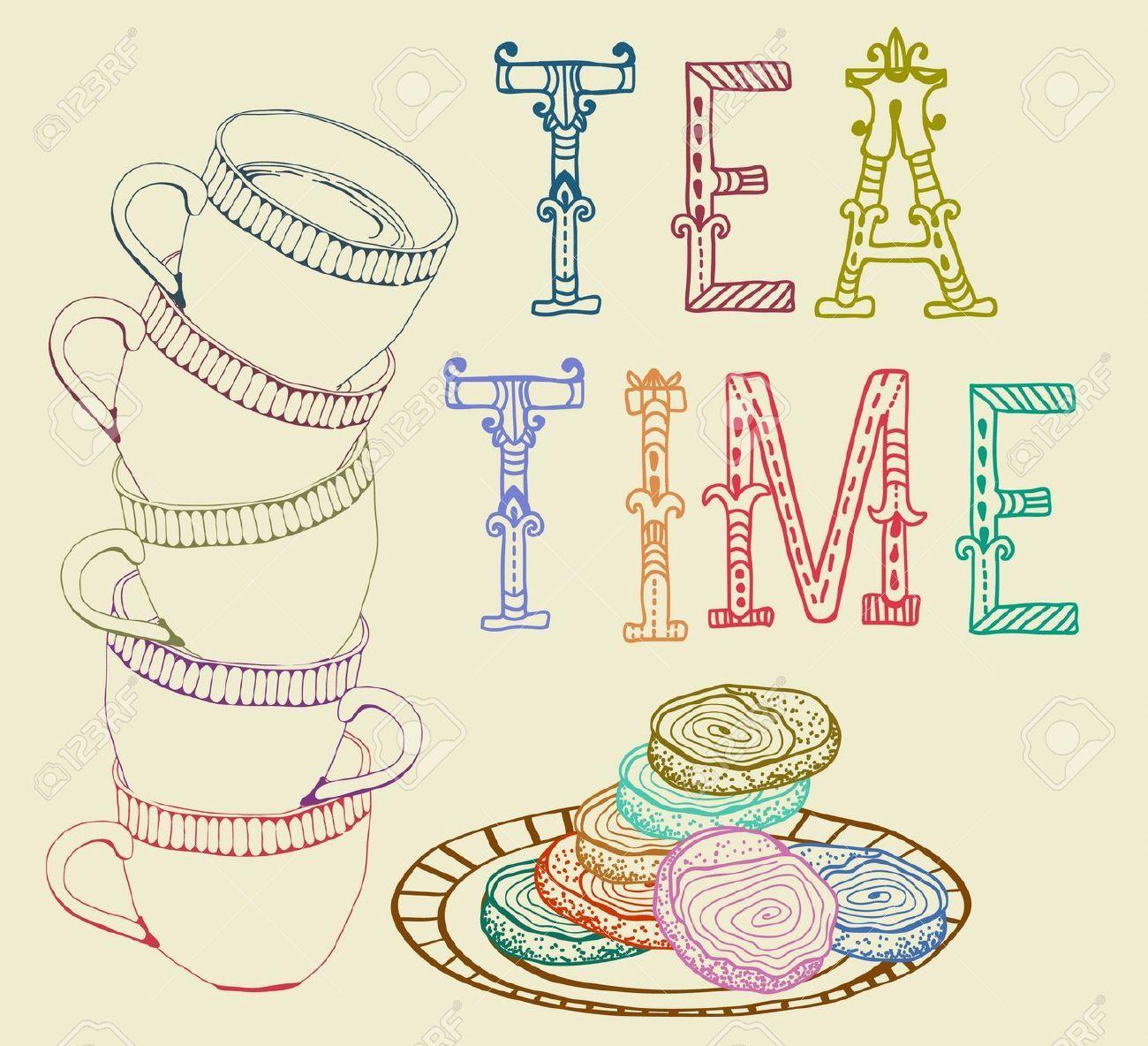 Vintage Tea Time Clipart.