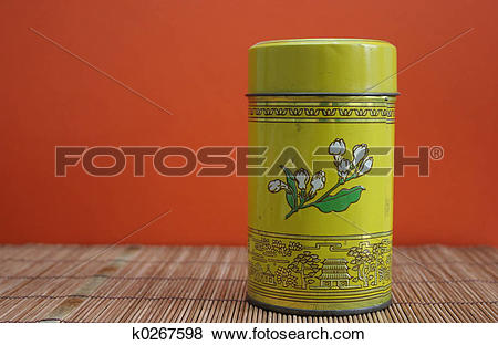 Pictures of Old Chinese tea tin k0267598.