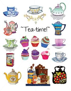Polka Dot Teacup, Tea Cup Outlines, Digital Drawings, Tea Art, 12.