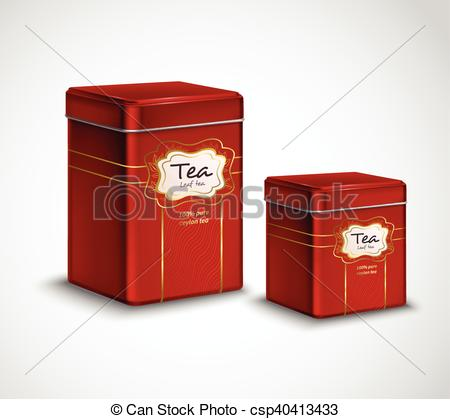 Vectors of Tea Tins Red Metal Containers Set.