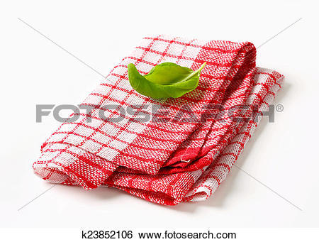 Stock Images of Red and white kitchen tea towel k23852106.