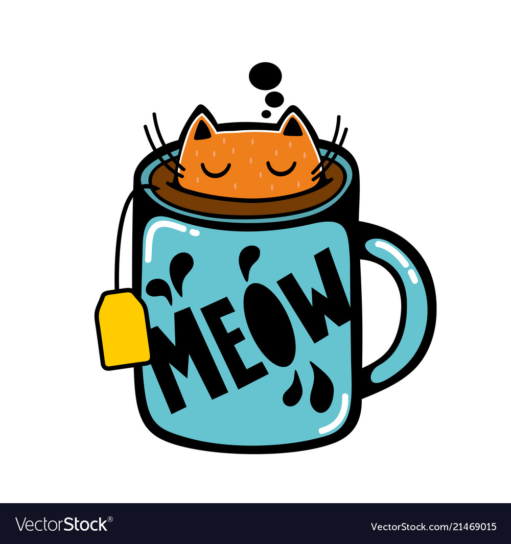 Cat in the cup of tea.