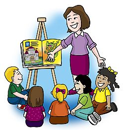 Teacher To Students Reading Clipart.