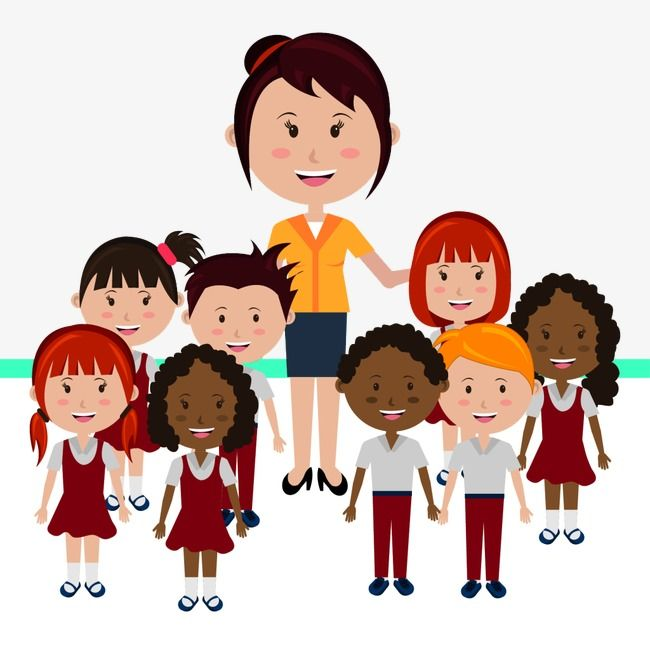 Teachers And Children States, Children Clipart, Teacher.