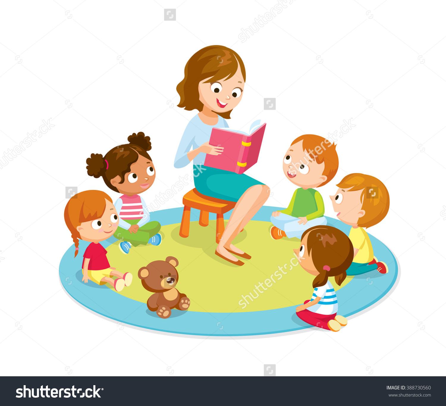 Kids Reading With Teacher Clipart.