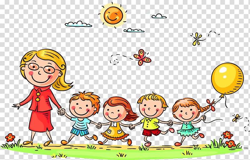 Woman with children , Child Cartoon , Pupils and teachers.