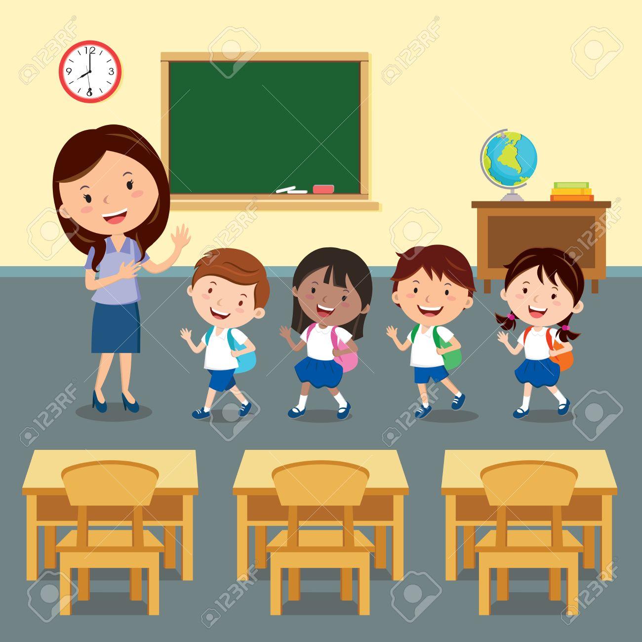 Teacher And Pupils Clipart.